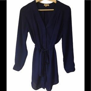 Royal blue dress blouse with tie